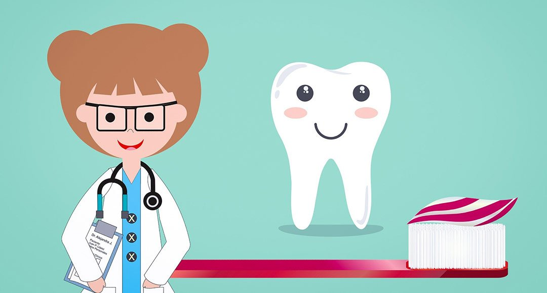 Dentist with tooth and toothbrush